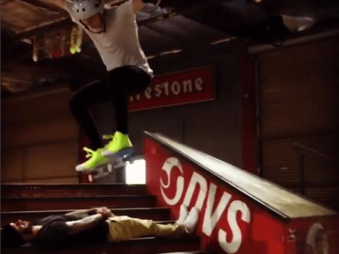 Watch Brooklyn Beckham make risky skateboard jump OVER his dad David Beckham