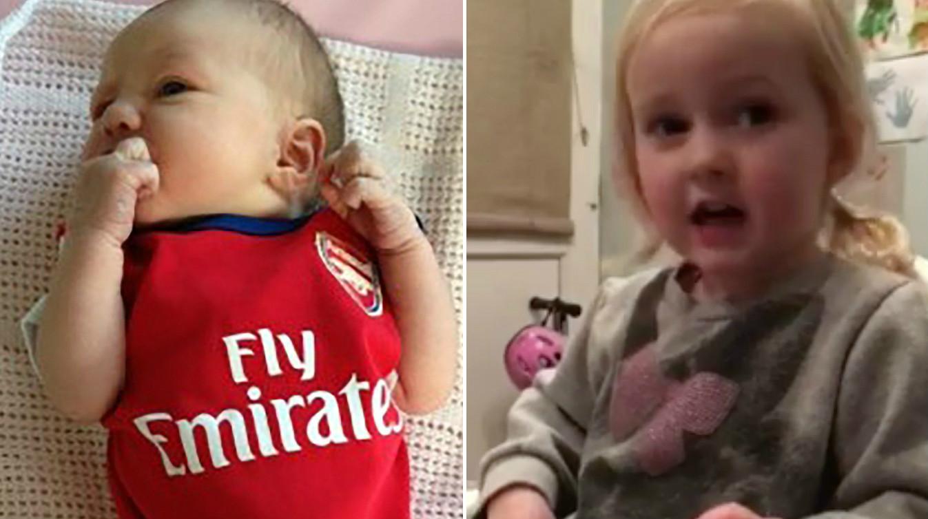 Two-year-old Goonerette Zoe Earwicker melts hearts by singing classic Arsenal chants