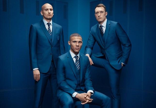 Jonjo-Shelvey,-Kieran-Gibbs,-Phil-Jones-in-the-Official-M&S-England-Football-Team-Suit