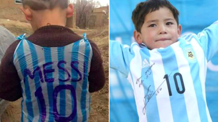 Fan, 5, with 'plastic bag' shirt gets sent real thing by Lionel Messi