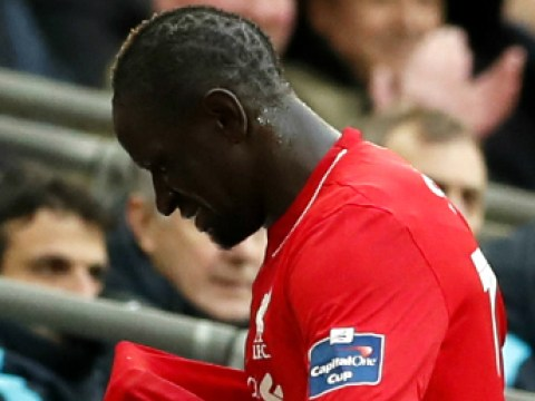 Liverpool's Mamadou Sakho appears to cry after being subbed off v Manchester City