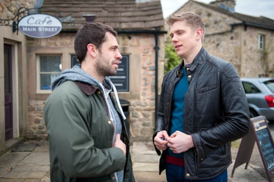 FROM ITV STRICT EMBARGO - No Use Before Tuesday 29 March 2016 Emmerdale - Ep 7468 Tuesday 5 April 2016 Robert Sugden's [RYAN HAWLEY] horrified to learn from Andy Sugden [KELVIN FLETCHER] he's been seeing Chrissie but it's not Robert whom Andy needs to worry about; as unbeknownst to Andy, an angry Lawrence makes a call but just what has he got planned and is Andy in danger? Picture contact: david.crook@itv.com on 0161 952 6214 Photographer - Andrew Boyce This photograph is (C) ITV Plc and can only be reproduced for editorial purposes directly in connection with the programme or event mentioned above, or ITV plc. Once made available by ITV plc Picture Desk, this photograph can be reproduced once only up until the transmission [TX] date and no reproduction fee will be charged. Any subsequent usage may incur a fee. This photograph must not be manipulated [excluding basic cropping] in a manner which alters the visual appearance of the person photographed deemed detrimental or inappropriate by ITV plc Picture Desk. This photograph must not be syndicated to any other company, publication or website, or permanently archived, without the express written permission of ITV Plc Picture Desk. Full Terms and conditions are available on the website www.itvpictur