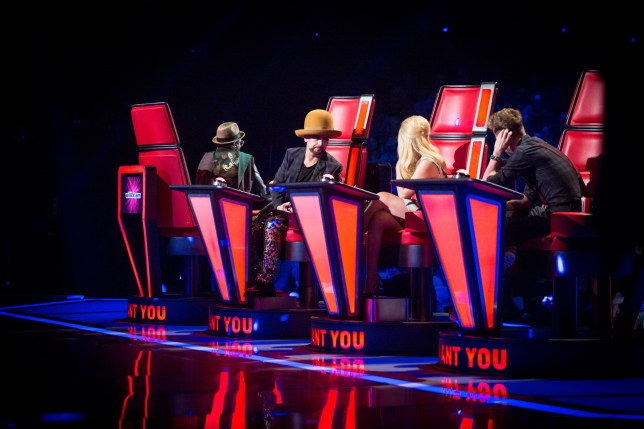 WARNING: Embargoed for publication until 00:00:01 on 01/03/2016 - Programme Name: The Voice - TX: 05/03/2016 - Episode: The Voice - Episode 9 (No. 9) - Picture Shows: THE VOICE - EPISODE 9 Will.i.am, Boy George, Paloma Faith, Ricky Wilson - (C) Wall To Wall - Photographer: GUY LEVY