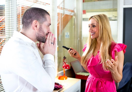 FROM ITV STRICT EMBARGO - No Use Before Tuesday 15 March 2016 Coronation Street - Ep 8866 Wednesday 23 March 2016 Eva Price [CATHERINE TYLDESLEY] arrives at the factory to help Aidan Connor [SHAYNE WARD] drum up business and suggests ringing Hanlon. Aidan thinks it's a waste of time but Eva won't take no for an answer. Eva successfully sets up a meeting with Hanlon for next week. Aidan's impressed and they kiss passionately, reunited at last. Picture contact: david.crook@itv.com on 0161 952 6214 Photographer - Mark Bruce This photograph is (C) ITV Plc and can only be reproduced for editorial purposes directly in connection with the programme or event mentioned above, or ITV plc. Once made available by ITV plc Picture Desk, this photograph can be reproduced once only up until the transmission [TX] date and no reproduction fee will be charged. Any subsequent usage may incur a fee. This photograph must not be manipulated [excluding basic cropping] in a manner which alters the visual appearance of the person photographed deemed detrimental or inappropriate by ITV plc Picture Desk. This photograph must not be syndicated to any other company, publication or website, or permanently archived, without the express written permission of ITV Plc Picture Desk. Full Terms and conditions are available on the website www.itvpictur