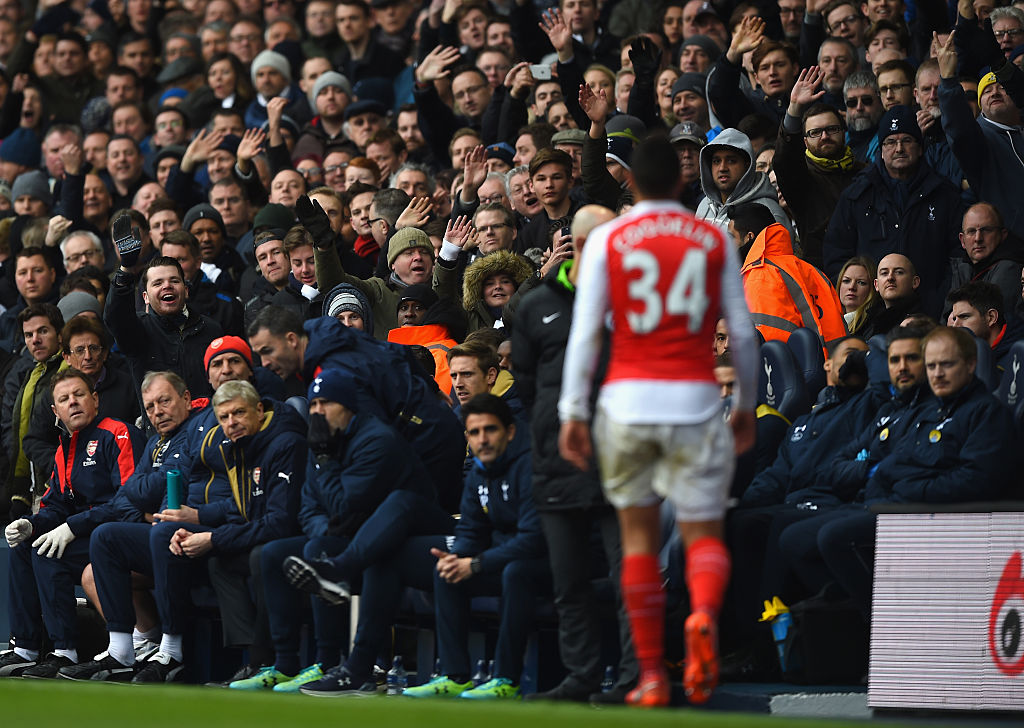 Arsene Wenger shot Francis Coquelin dirty look after red-card during Tottenham v Arsenal