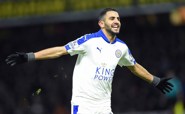 Leicester City's Algerian midfielder Riyad Mahrez celebrates scoring his team's first goal during the English Premier League football match between Watford and Leicester City at Vicarage Road Stadium in Watford, north of London on March 5, 2016. / AFP / OLLY GREENWOOD / RESTRICTED TO EDITORIAL USE. No use with unauthorized audio, video, data, fixture lists, club/league logos or 'live' services. Online in-match use limited to 75 images, no video emulation. No use in betting, games or single club/league/player publications. / (Photo credit should read OLLY GREENWOOD/AFP/Getty Images)