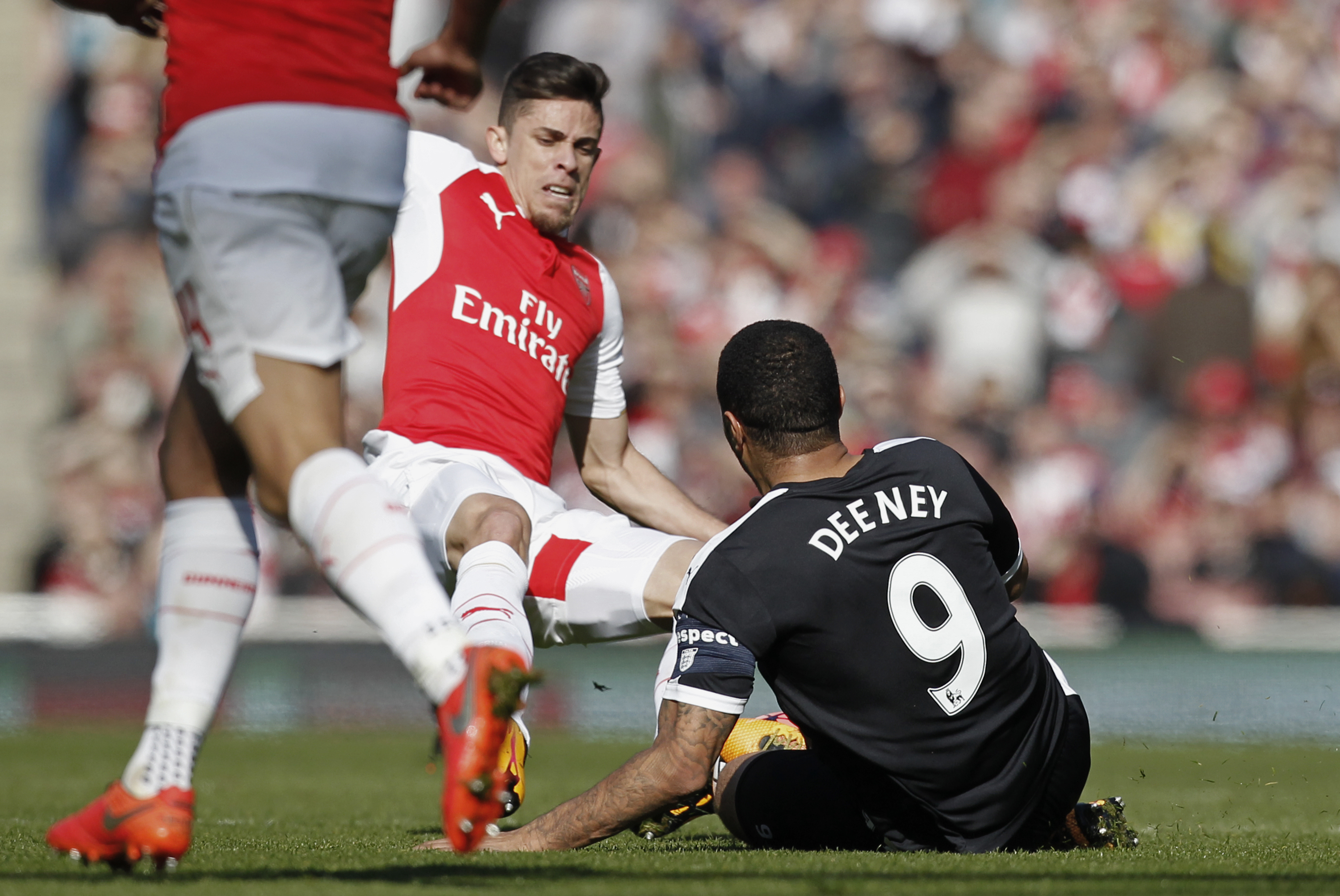 Arsenal's Gabriel Paulista will not face a ban after horror tackle on Watford's Troy Deeney