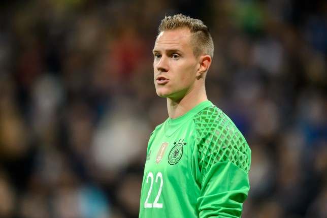 MUNICH, GERMANY - MARCH 29: Goalkeeper Marc-Andre ter Stegen (C) of Germany looks on during the International Friendly match between Germany and Italy at Allianz Arena on March 29, 2016 in Munich, Germany. (Photo by Boris Streubel/Getty Images)