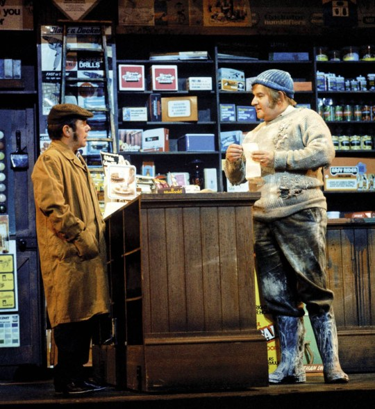 File Pic- it has been announced today, 31/3/16, that Ronnie Corbett has passed away. See NATIONAL copy NNRONNIE.The Two Ronnies, Barker and Corbett during their most famous sketch 'Fork Handles' where Ronnie Barker plays a customer in hardware store giving some quite confusing instrucrtions as to the items he requires.