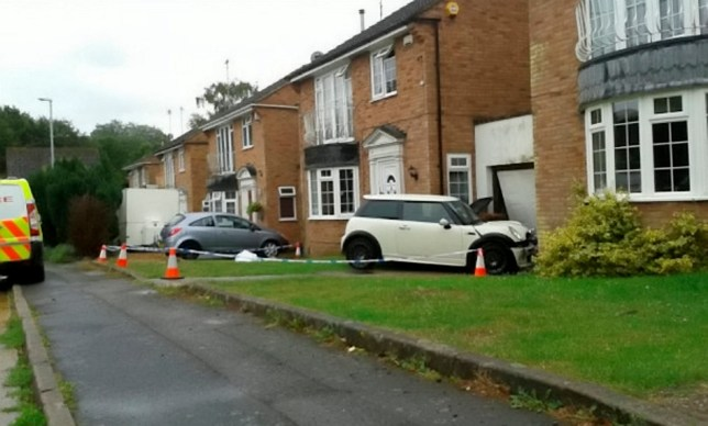GV of the scene on the morning after the false imprisonment episode began, showing the aftermath of the Bridge-Simmons' crash. The house pictured is not the one where the crimes took place. It's a neighbour's house. Two men have been found guilty for falsely imprisoning a man they enticed to a Northampton home after meeting him on social network app Grindr. See NTI story NTIGRINDR. Jordan Bridge-Simmons, (20), and Tyrone Platt, (20), were sentenced to six years each. During the trial, the jury heard details of a complicated robbery that started with Bridge-Simmons luring the victim to the house was staying at, in, Northampton after meeting him on Grindr in July 2015. The victim was shown round the house by Bridge-Simmons, however when they reached a bedroom, he was pushed inside and the lights turned off. The victim was repeatedly kicked and punched before Platt walked him to a cash machine and made him withdraw £300. When they returned to the house, they found that Bridge-Simmons had stolen the victimís car and crashed it into a Mini Cooper which had in turn crashed into a nearby house.