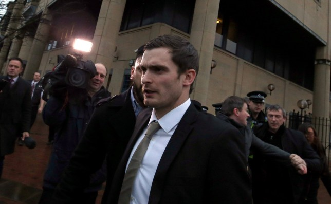 BRADFORD, ENGLAND - MARCH 02: Footballer Adam Johnson leaves Bradford Crown Court on day fourteen of the trial where he was found guilty of one count of child sexual assault charges on March 2, 2016 in Bradford, England. The former Sunderland FC midfielder, 28, from Castle Eden, County Durham, had already admitted one charge of sexual activity with a child and one charge of child grooming. (Photo by Nigel Roddis/Getty Images)