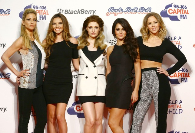 nMandatory Credit: Photo by Tom Dymond/REX/Shutterstock (2016116f)nGirls Aloud - Sarah Harding, Nadine Coyle, Nicola Roberts, Cheryl Cole and Kimberley WalshnCapital FM Jingle Bell Ball, The O2 Arena, London, Britain - 09 Dec 2012nn