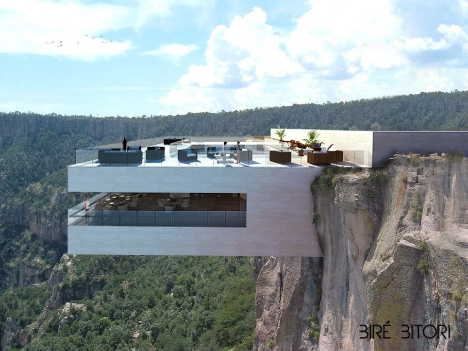 Those with a nervous disposition or a fear of heights might want to give this exclusive eatery a miss! However, if a room with a view is what fuels your appetite youíll be right at home at this proposed cliff-side restaurant. From design studio Tall Arquitectos this entire restaurant, called Copper Canyon Cocktail Bar, overlooks the stunning Basaseachic Falls of Mexico. As you can see from the plans the Copper Canyon consists of two levels; the first floor will feature the bar and dining area, with tables positioned around the perimeter to make the best of the precarious views. Guests will also experience the breathtaking views of the valley below through the uniquely designed glass floor! However, once their meal is over diners can retreat to the upstairs observation deck where there is a more chilled vibeÖand even a swimming pool where you can cool down in the open air after your fine dining experience! Featuring: Atmosphere Where: Basaseachic Falls, Mexico When: 08 Mar 2016 Credit: Supplied by WENN.com **WENN does not claim any ownership including but not limited to Copyright, License in attached material. Fees charged by WENN are for WENN's services only, do not, nor are they intended to, convey to the user any ownership of Copyright, License in material. By publishing this material you expressly agree to indemnify, to hold WENN, its directors, shareholders, employees harmless from any loss, claims, damages, demands, expenses (including legal fees), any causes of action, allegation against WENN arising out of, connected in any way with publication of the material.**