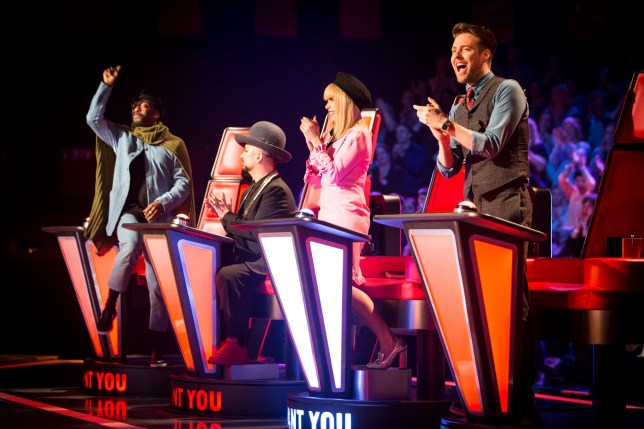 WARNING: Embargoed for publication until 00:00:01 on 08/03/2016 - Programme Name: The Voice - TX: 12/03/2016 - Episode: The Voice - Episode 10 (No. 10) - Picture Shows: THE VOICE - EPISODE 10 Will.i.am, Boy George, Paloma Faith, Ricky Wilson - (C) WALL TO WALL - Photographer: GUY LEVY