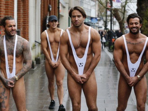 TOWIE lads cover their tackle in mankini walk of shame
