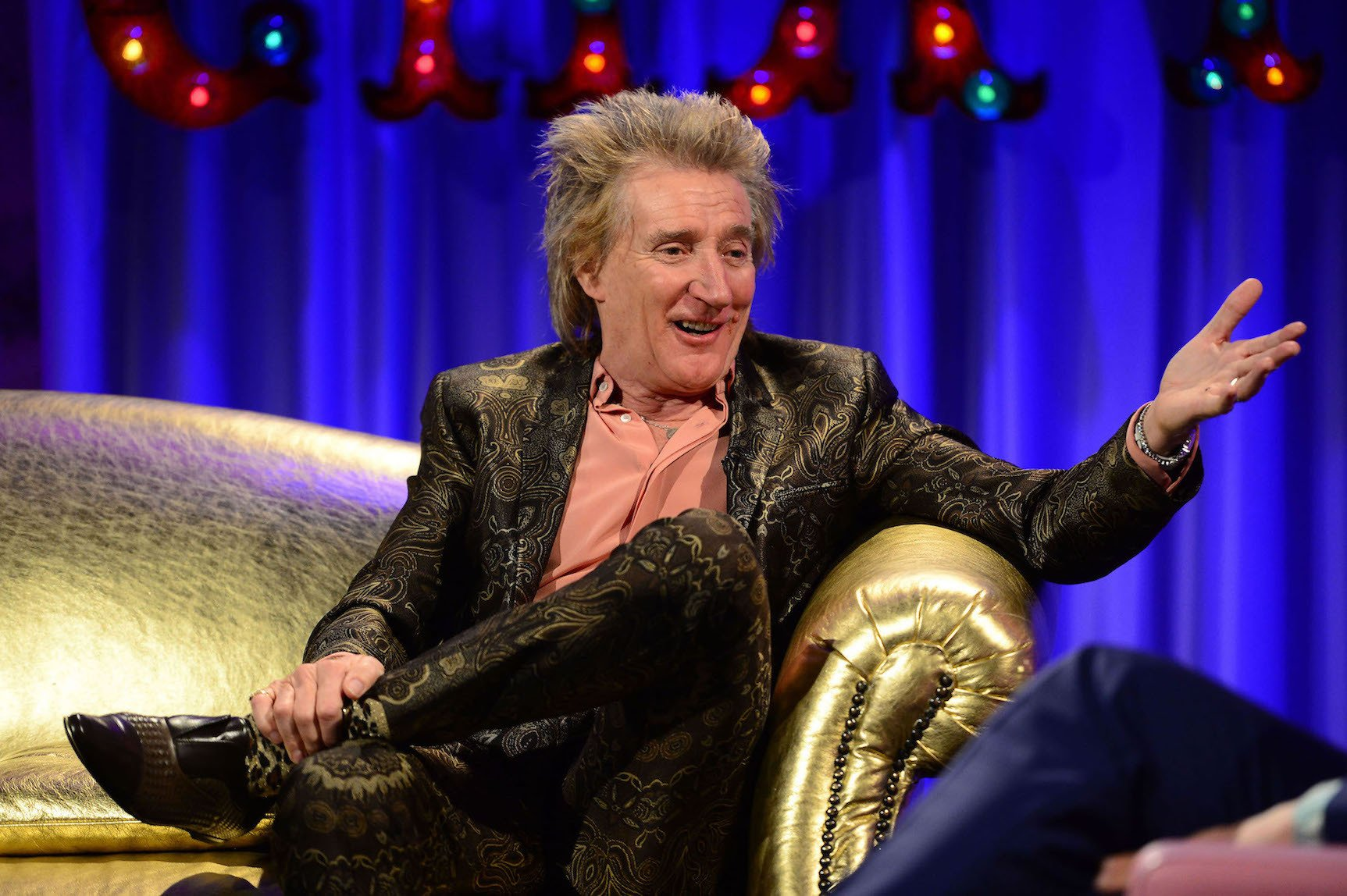 Channel 4 undated handout photo of Rod Stewart as he appears on Alan Carr Chatty Man to be transmitted this evening. PRESS ASSOCIATION Photo. Issue date: Tuesday March 8, 2016. See PA story SHOWBIZ Stewart. Photo credit should read: Channel 4/PA Wire NOTE TO EDITORS: This handout photo may only be used in for editorial reporting purposes for the contemporaneous illustration of events, things or the people in the image or facts mentioned in the caption. Reuse of the picture may require further permission from the copyright holder.