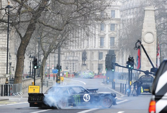 Picture Shows: Matt LeBlanc March 13, 2016 New host Matt LeBlanc seen filming the newly revamped series of 'Top Gear' around The Cenotaph on Whitehall in London, England. The filming of the new series has received criticism for taking over the streets of London and doing 'donuts' near The Cenotaph war memorial, with many describing it as disrespectful. Non Exclusive WORLDWIDE RIGHTS Pictures by : FameFlynet UK © 2016 Tel : +44 (0)20 3551 5049 Email : info@fameflynet.uk.com