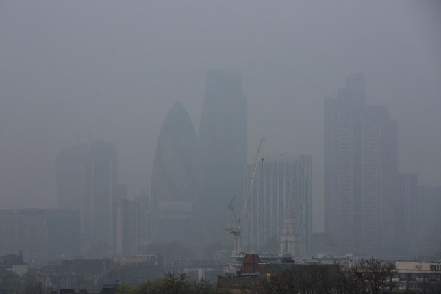 LONDON, ENGLAND - APRIL 03: General view of smog over the City of London as air pollution reaches high levels on April 3, 2014 in London, England. Dust from the Sahara combined with pollution from mainland Europe has contributed to one of the worst smogs of the year this week with record levels being recorded in parts of England on Tuesday with potential 8 or 9 out of 10 level of air pollution likely to be found in East Anglia and the East Midlands again later today. (Photo by Tristan Fewings/Getty Images)