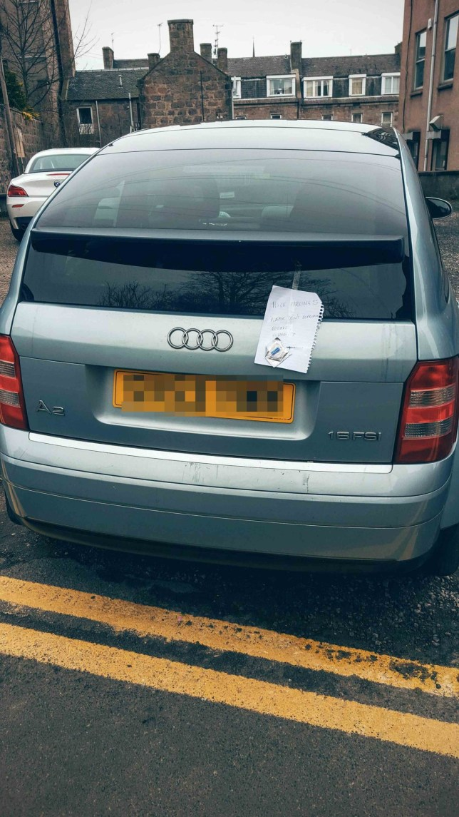 AN ENRAGED Scot left a hilarious note on a badly-parked car - urging the driver not to reproduce and even leaving a condom. A picture, shared online, shows a silver Audi A2 parked in a snug Aberdeen lane with its bumper almost touching double yellow lines. The bad parking prompted an angry passerby to take matters into their own hands and leave some advice on a piece of lined notepaper. And they even left some contraception with the note - to ensure the bad parking genes are not passed down to future generations.