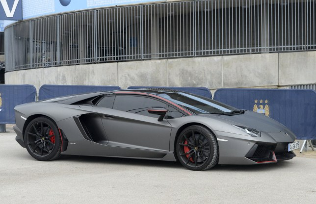 Samir Nasri's Lamborghini Aventador Pirelli Edition. Manchester City players leave the Etihad Stadium after a training session infront of the Owners the day before the Manchester Derby.