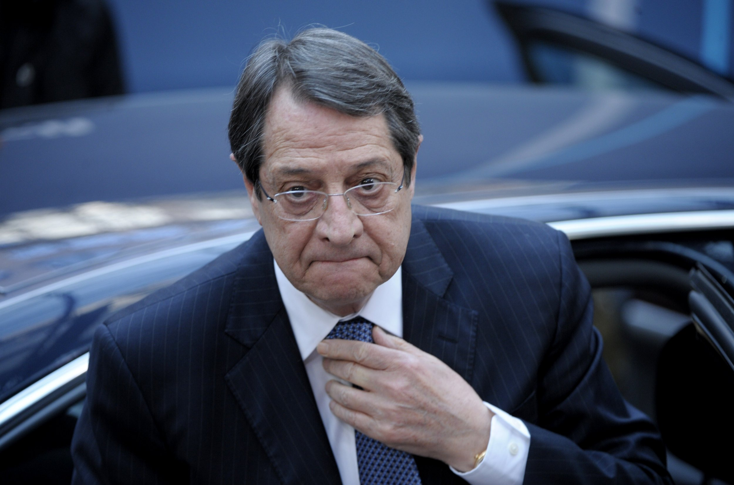 Cypriot President Nicos Anastasiades arrives ahead of the European Council Summit at the European Union (EU) Headquarters in Brussels on February 12, 2015 AFP PHOTO / ALAIN JOCARD (Photo credit should read ALAIN JOCARD/AFP/Getty Images)