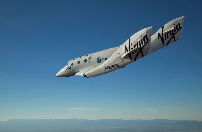 The Virgin Galactic SpaceShip2 (VSS Enterprise) glides toward Earth on its first test flight after being released from its WhiteKnight2 mothership (VMS Eve) over the Mojave, California area October 10, 2010. The craft was piloted by engineer and test pilot Pete Siebold from Scaled Composites. REUTERS/Mark Greenberg-Virgin Galactic/Handout (UNITED STATES - Tags: SCI TECH TRANSPORT) FOR EDITORIAL USE ONLY. NOT FOR SALE FOR MARKETING OR ADVERTISING CAMPAIGNS. THIS IMAGE HAS BEEN SUPPLIED BY A THIRD PARTY. IT IS DISTRIBUTED, EXACTLY AS RECEIVED BY REUTERS, AS A SERVICE TO CLIENTS