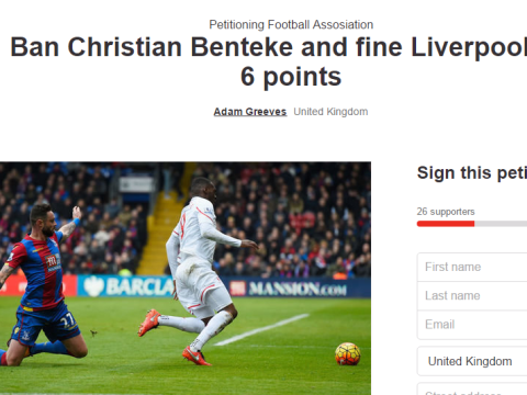 Angry Crystal Palace fan starts petition to dock Liverpool 6 points and ban Christian Benteke after 'dive'
