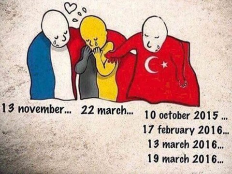 Powerful cartoon that asks where people's sympathy was for Turkey