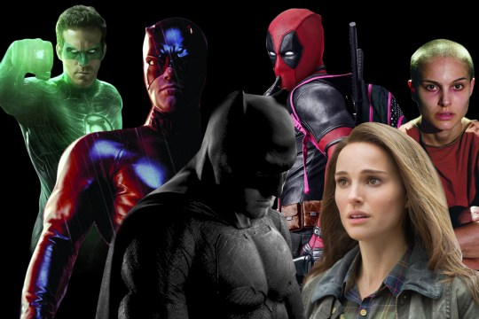 Ben Affleck as Batman and Daredevil, Ryan Reynold as deadpool and Green Lantern and Natalie Portman in V for Vendetta and Thor Rex