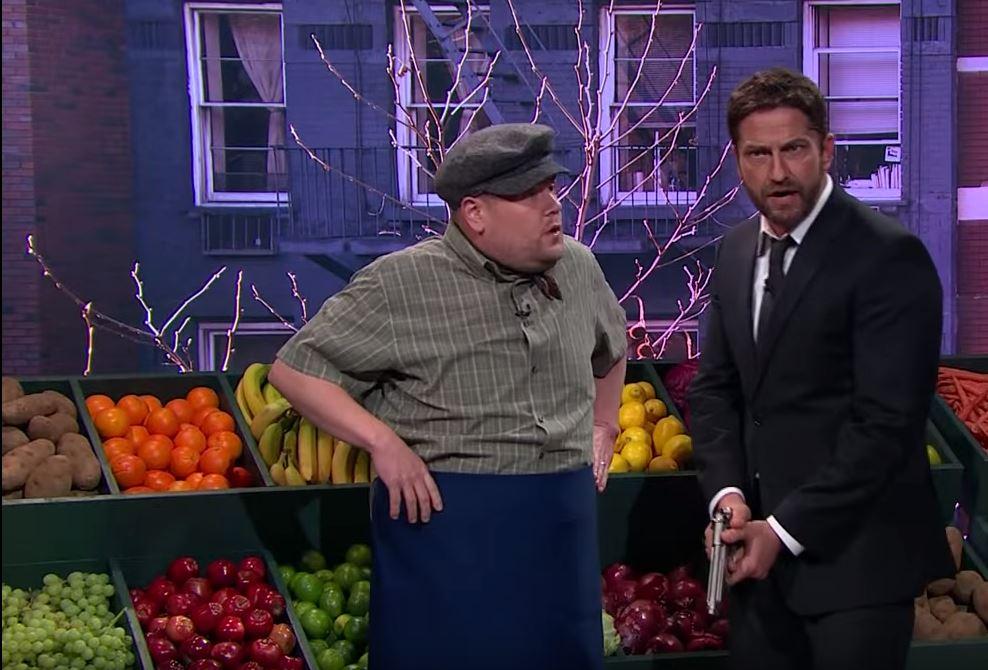 James Corden drives Gerard Butler insane with Cockney rhyming slang in London Has Fallen 'deleted scene'