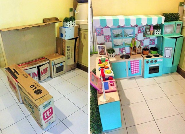 Play kitchen made out of cardboard boxes Credit: Rodessa Villanueva-Reyes http://www.boredpanda.com/diy-cardboard-kitchen-recycle-toddler/