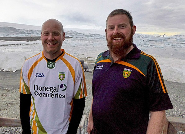 John Paul O'Donnell and Danny McFadden (R) met up on Antarctica