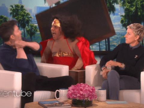 Ben Affleck jumps in fear as man dressed as Wonder Woman scares him on Ellen
