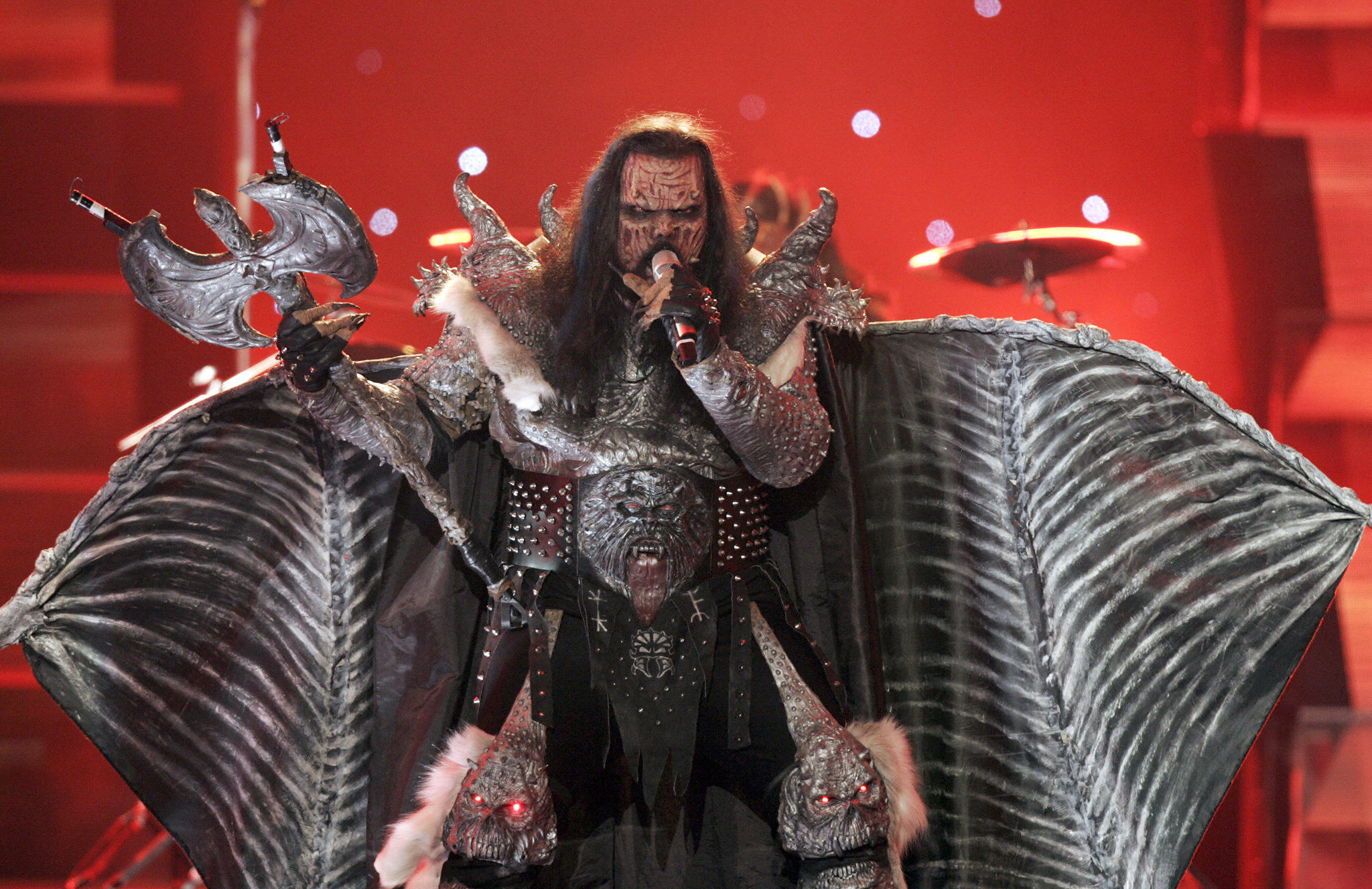 Athens, GREECE: Finland's Lordi performs the song 'Hard Rock Hallelujah' during the 51st Eurovision final song contest at the Athens Olympic Indoor Hall, 20 May 2006. The 51st Eurovision song contest, the continent's annual ode to glitz and extravaganza, began in Athens on Saturday night with 24 countries vying for the title that carries the right to host next year's event. AFP PHOTO / Aris Messinis (Photo credit should read ARIS MESSINIS/AFP/Getty Images)