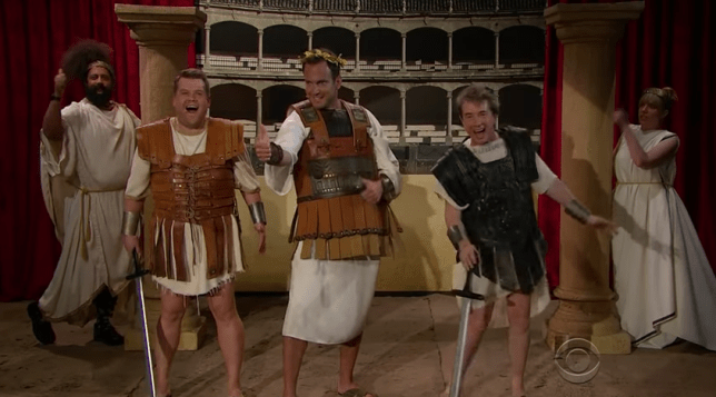 James Corden along with Will Arnett and Martin Short presented 'Inappropriate Musicals' on the Late Late Show (Picture: CBS)