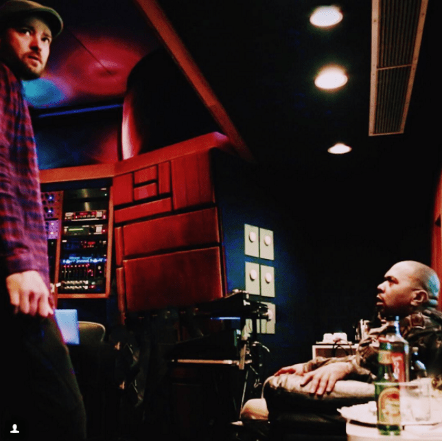 Justin Timberlake and Timbaland are in the studio once more (Picture: Justin Timberlake Instagram)