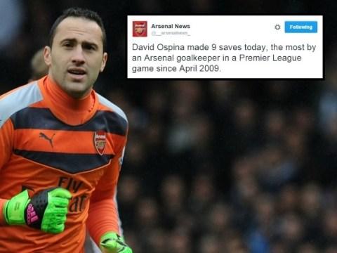 David Ospina makes most saves of any Arsenal goalkeeper since 2009