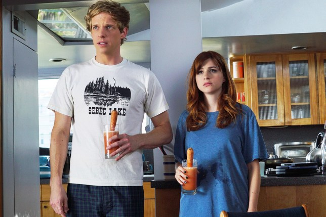 No Merchandising. Editorial Use Only. No Book Cover Usage Mandatory Credit: Photo by FX Networks/Everett/REX/Shutterstock (5203639a) Chris Geere, Aya Cash (Season 2, ep. 202) 'You're the Worst' TV Programme - 2015