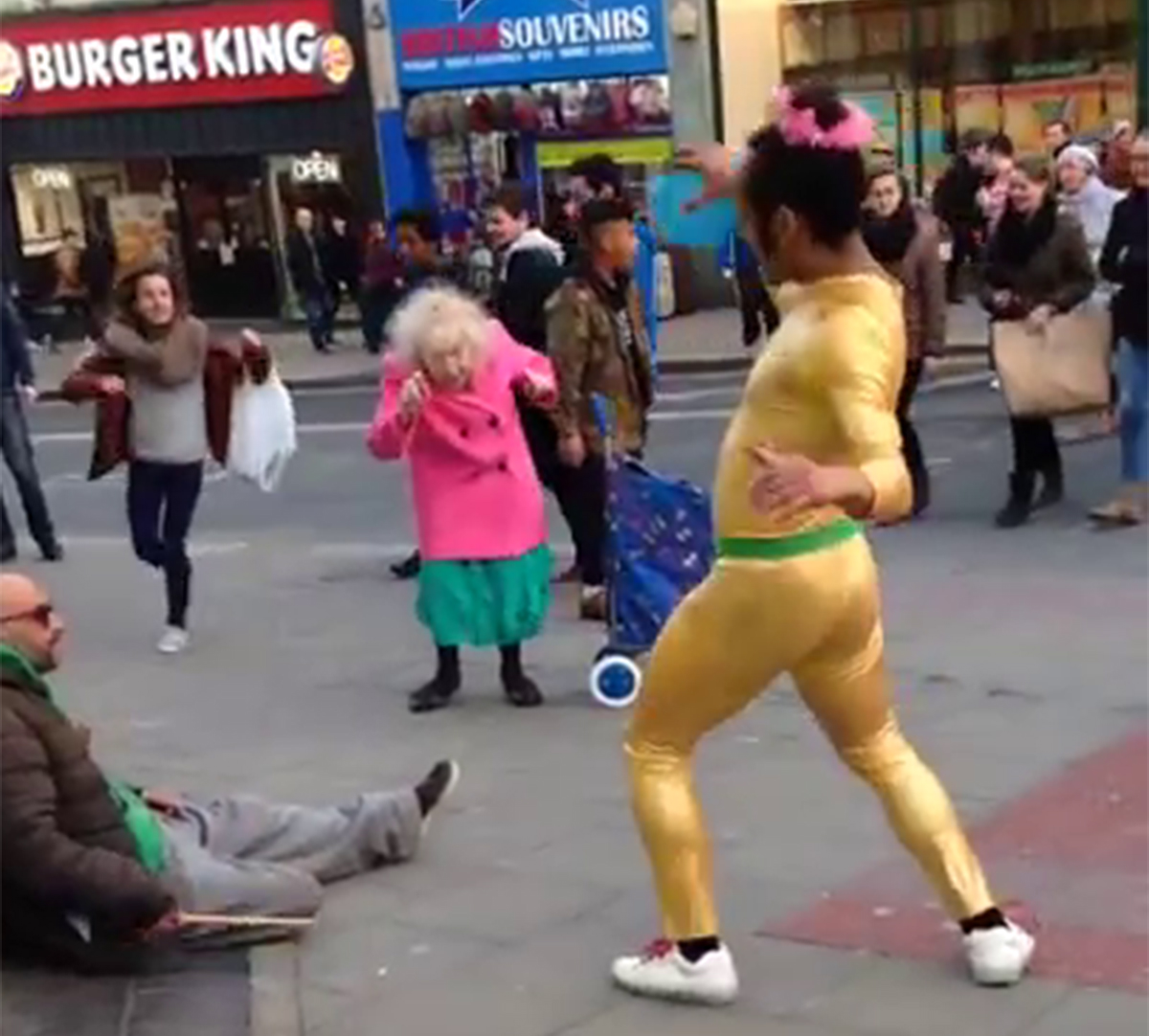 This old lady know's what life's about Pure joy on the streets of Brighton ? Beautiful old Dancing Lady & Disco Bunny Credit: Ezda Beevers/Youtube