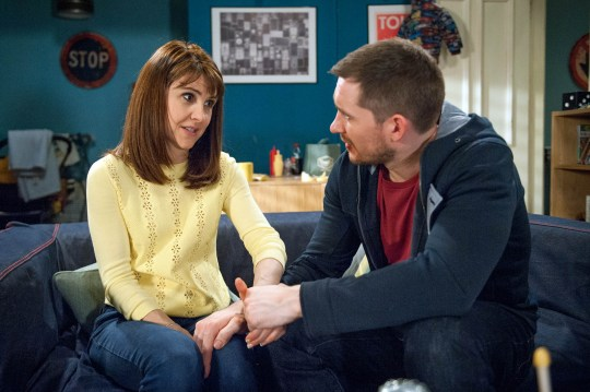 FROM ITV STRICT EMBARGO - No Use Before Tuesday 26th April 2016 Emmerdale - Ep 7496 Friday 6 May 2016 Emma Barton's [GILLIAN KEARNEY] shocked when a bloodied Pete Barton [ ANTHONY QUINLAN] walks in saying he's going to Scotland tomorrow but he's moved when Finn insists he's going with him. A reeling Emma comes up with a plan to keep her boys close and tells them she could have motor neurones disease. Will her plan work? Picture contact: david.crook@itv.com on 0161 952 6214 Photographer - Andrew Boyce This photograph is (C) ITV Plc and can only be reproduced for editorial purposes directly in connection with the programme or event mentioned above, or ITV plc. Once made available by ITV plc Picture Desk, this photograph can be reproduced once only up until the transmission [TX] date and no reproduction fee will be charged. Any subsequent usage may incur a fee. This photograph must not be manipulated [excluding basic cropping] in a manner which alters the visual appearance of the person photographed deemed detrimental or inappropriate by ITV plc Picture Desk. This photograph must not be syndicated to any other company, publication or website, or permanently archived, without the express written permission of ITV Plc Picture Desk. Full Terms and conditions are available on the website www.itvpictur