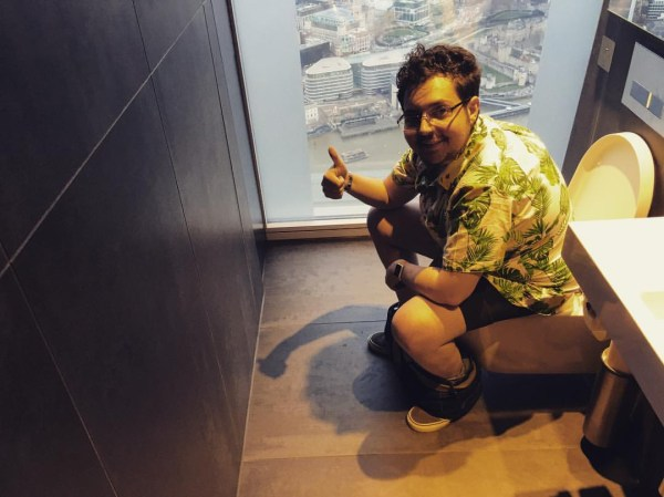 man is having a sh*t in as many toilets as possible before his bumhole is stitched up forever