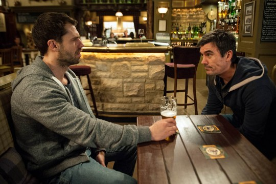 FROM ITV STRICT EMBARGO - No Use Before Tuesday 12th April 2016 Emmerdale - Ep 7481 Wednesday 20th April 2016 Holly catches Moira searching for Debbie's details for Andy Sugden [KELVIN FLETCHER], on Cain Dingle's [JEFF HORDLEY] laptop and soon informs Cain, who deliberately leaves his phone out on the kitchen table to see if Moira will take the bait. Whilst Andy is scared when Cain threatens him over coming between him and Moira. Picture contact: david.crook@itv.com on 0161 952 6214 Photographer - Andrew Boyce This photograph is (C) ITV Plc and can only be reproduced for editorial purposes directly in connection with the programme or event mentioned above, or ITV plc. Once made available by ITV plc Picture Desk, this photograph can be reproduced once only up until the transmission [TX] date and no reproduction fee will be charged. Any subsequent usage may incur a fee. This photograph must not be manipulated [excluding basic cropping] in a manner which alters the visual appearance of the person photographed deemed detrimental or inappropriate by ITV plc Picture Desk. This photograph must not be syndicated to any other company, publication or website, or permanently archived, without the express written permission of ITV Plc Picture Desk. Full Terms and conditions are available on the website www.itvpictur