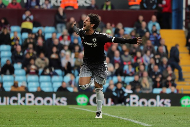 BIRMINGHAM, ENGLAND - APRIL 02: Alexandre Pato of Chelsea celebrates after scoring a goal to make it 0-2 during the Barclays Premier League match between Aston Villa and Chelsea at Villa Park on April 2, 2016 in Birmingham, England. (Photo by James Baylis - AMA/Getty Images)