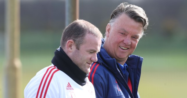 MANCHESTER, ENGLAND - APRIL 08: (EXCLUSIVE COVERAGE) Wayne Rooney and Manager Louis van Gaal in action during a first team training session at Aon Training Complex on April 8, 2016 in Manchester, England. (Photo by Matthew Peters/Man Utd via Getty Images)