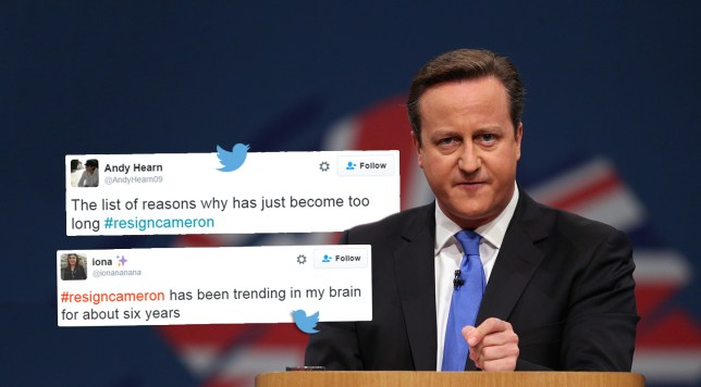 #resigncameron is trending Credit: Getty Images/Twitter