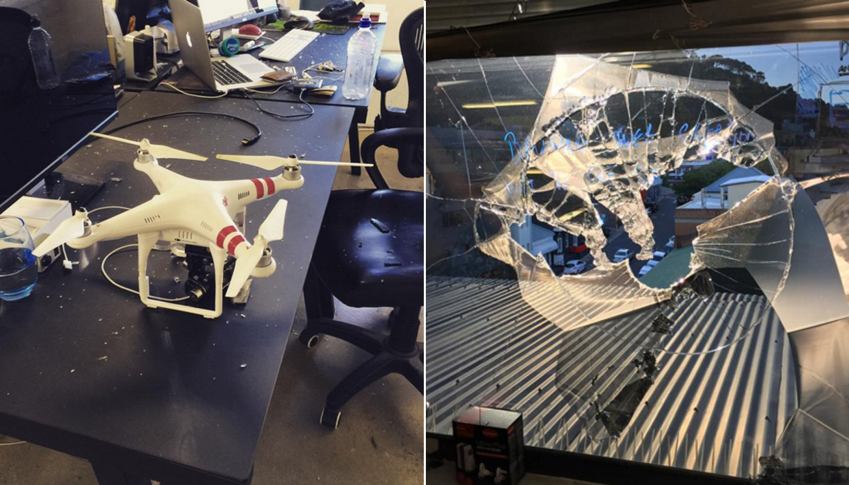 Out-of-control drone crashes through window and hits office worker