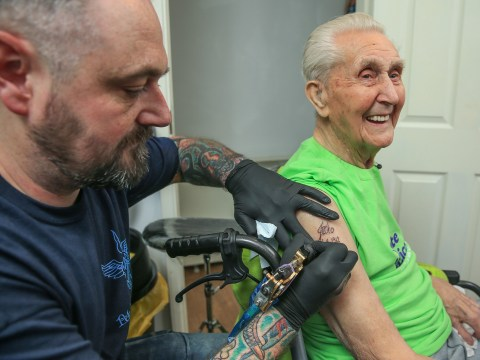 A great-grandfather celebrated his 104th birthday by becoming the oldest person ever to get a tattoo