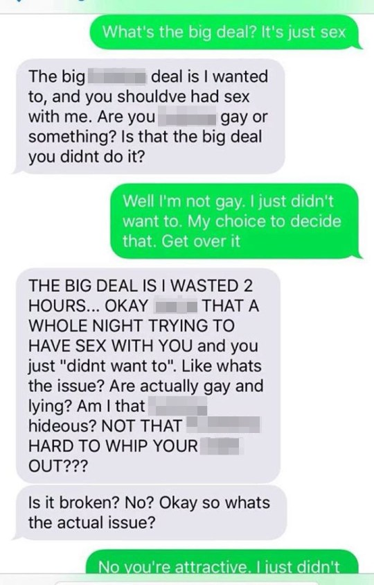 Man is sent abusive texts after he refuses to have sex with