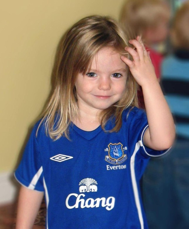 Madeleine McCann. Undated handout photo of Madeleine McCann in an Everton Football shirt. PRESS ASSOCIATION Photo. Issue date: Saturday April 26 2008. Madeleine has been missing since May 3 2007. See PA story POLICE Portugal. Photo credit should read: PA Wire