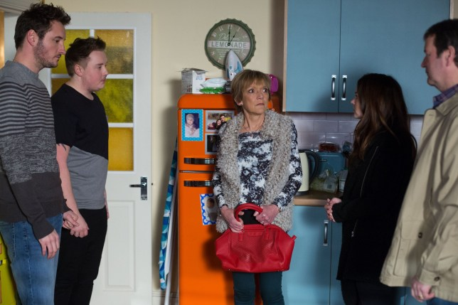 WARNING: Embargoed for publication until 00:00:01 on 05/04/2016 - Programme Name: EastEnders - TX: 14/04/2016 - Episode: 5263 (No. n/a) - Picture Shows: *STRICTLY NOT FOR PUBLICATION UNTIL 00:01HRS, TUESDAY 5TH APRIL, 2016*.. Jean is frozen to the spot when introduced to Kyle. Martin Fowler (JAMES BYE), Kyle (RILEY CARTER MILLINGTON), Jean Slater (GILLIAN WRIGHT), Stacey Branning (LACEY TURNER), Ollie Walters (TONY O⿿CALLAGHAN ) - (C) BBC - Photographer: Jack Barnes